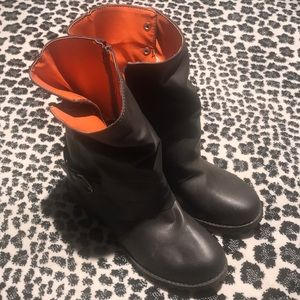 Faux brown leather ankle high boots orange lining!